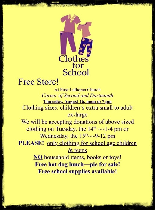 Clothes for School - Free Store