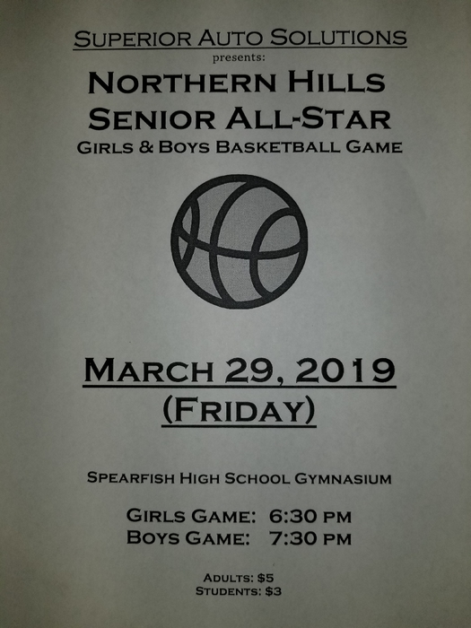 Come watch Dana, Payton, and Brock play in the Northern Hills Senior All-Star game Friday night