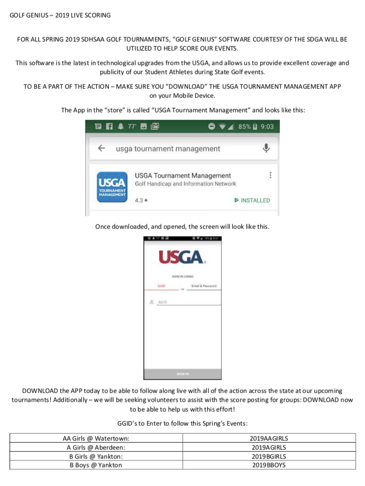 State golf app instructions.