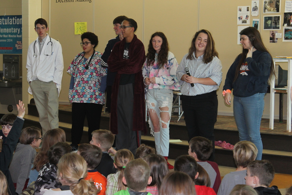 The Newell High School One Act Cast Performance at Creekside Elementary School Left to right: Hunter Wetz, Annie Miller, Caleb Mutchler, Kai Banks, Austin Alexander, Abbie Nelson and Sam Packard